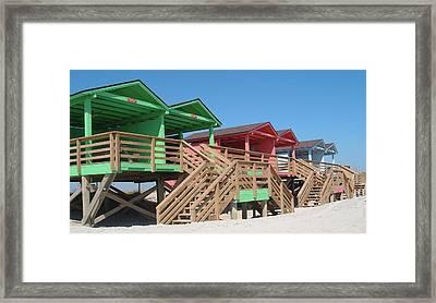 Colorful Cabanas Framed Print