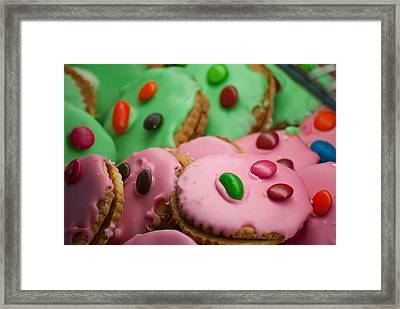 Colorful Candy Faces Framed Print by Michelle Wrighton