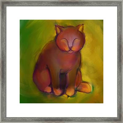Colorful Cat 2 Framed Print by Anna Gora