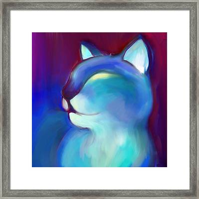 Colorful Cat 3 Framed Print by Anna Gora