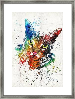 Colorful Cat Art By Sharon Cummings Framed Print by Sharon Cummings