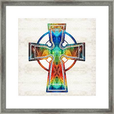 Colorful Celtic Cross By Sharon Cummings Framed Print