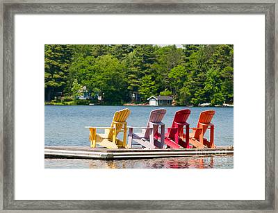 Framed Print featuring the photograph Colorful Chairs by Les Palenik