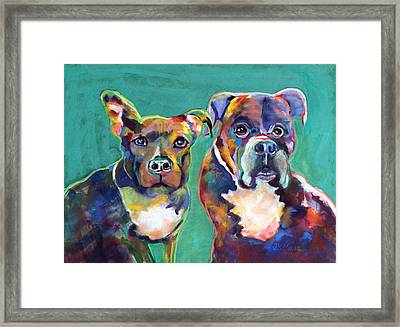 Framed Print featuring the pastel Colorful Characters by Julie Maas