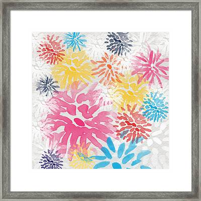 Colorful Chrysanthemums- Abstract Floral Painting Framed Print by Linda Woods