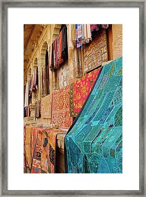 Colorful Cloth / Fort Jaisalmer Framed Print by Adam Jones