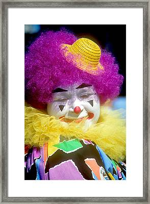 Colorful Clown Framed Print by Kenneth Pagel