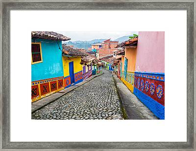 Colorful Cobblestone Street Framed Print