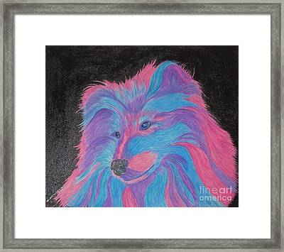 Colorful Collie Water Color Pencil Framed Print
