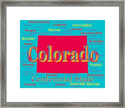 Colorful Colorado State Pride Map Silhouette  Framed Print