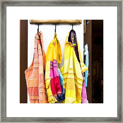 Colorful Cotton Bags Framed Print by Tom Gowanlock