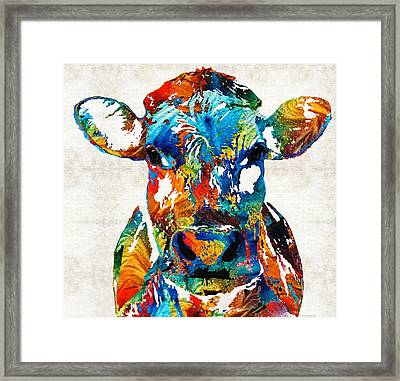 Colorful Cow Art - Mootown - By Sharon Cummings Framed Print by Sharon Cummings