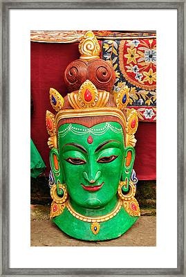 Colorful Cultural Masks Made Of Papier Framed Print by Jaina Mishra