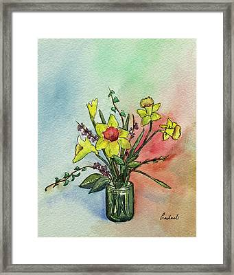 Colorful Daffodil Flowers In A Vase Framed Print by Prashant Shah