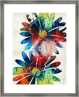 Colorful Daisy Art - Hip Daisies - By Sharon Cummings Framed Print