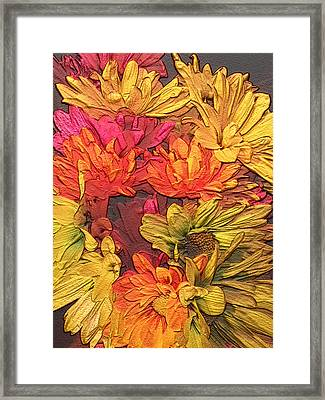Colorful Daisy Garden Impression Framed Print by Erica  Darknell