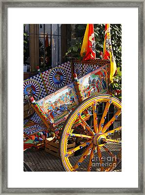 Colorful Decorated Horse Carriage Cefalu Palermo Sicily Italy Framed Print