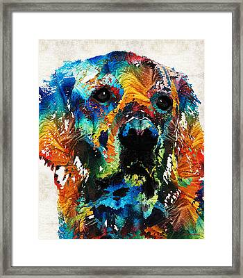 Colorful Dog Art - Heart And Soul - By Sharon Cummings Framed Print by Sharon Cummings