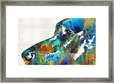 Colorful Dog Art - Loving Eyes - By Sharon Cummings  Framed Print by Sharon Cummings
