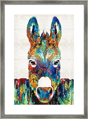 Colorful Donkey Art - Mr. Personality - By Sharon Cummings Framed Print by Sharon Cummings