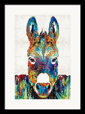 Donkey Paintings Framed Prints