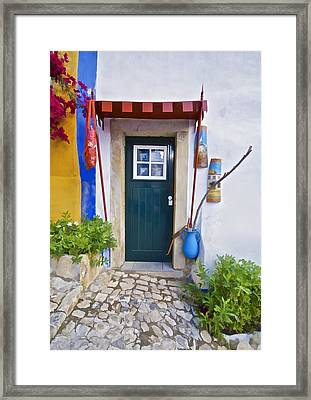 Colorful Door Of Obidos Framed Print by David Letts