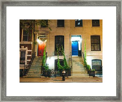 Colorful Doors At Night - New York City Framed Print by Vivienne Gucwa