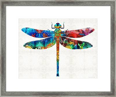 Colorful Dragonfly Art By Sharon Cummings Framed Print by Sharon Cummings