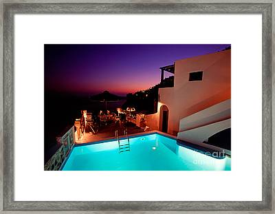 Colorful Dusk In Santorini Framed Print