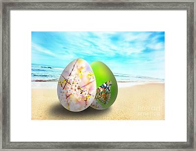 Colorful Easter Eggs On Sunny Beach Framed Print by Michal Bednarek