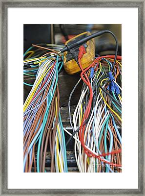 Colorful Electrical Wires And A Voltmeter Framed Print