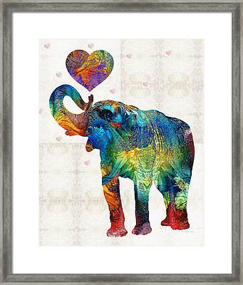 Colorful Elephant Art - Elovephant - By Sharon Cummings Framed Print