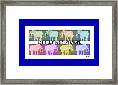 Pastel Elephants On Parade Framed Print