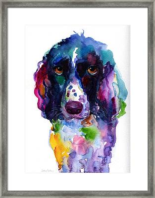 Colorful English Springer Setter Spaniel Dog Portrait Art Framed Print