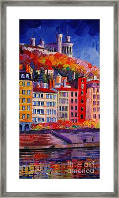 Colorful Facades On The Banks Of Saone - Lyon France Framed Print by Mona Edulesco