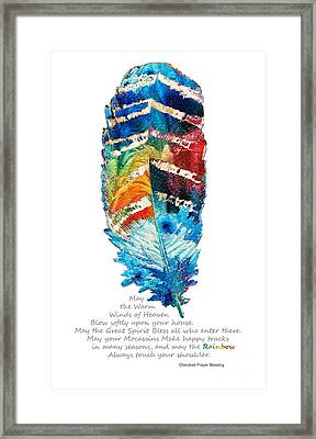 Colorful Feather Art - Cherokee Blessing - By Sharon Cummings Framed Print by Sharon Cummings