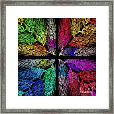 Colorful Feather Fern - 4 X 4 - Abstract - Fractal Art - Square Framed Print by Andee Design