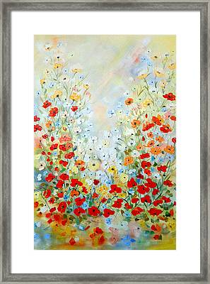 Framed Print featuring the painting Colorful Field Of Poppies by Dorothy Maier