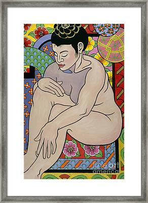 colorful figure painting - In My House Framed Print