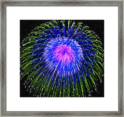 Colorful Fireworks On The Black Sky Background Framed Print by Lanjee Chee
