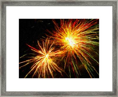 Colorful Fireworks Over Dark Sky Framed Print by Lanjee Chee