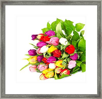 Colorful Flower Bouquets Framed Print by Boon Mee
