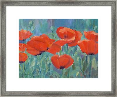 Colorful Flowers Red Poppies Beautiful Floral Art Framed Print