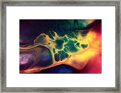 Colorful Fluid Art-wave Of Fire By Kredart Framed Print