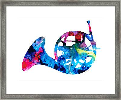 Colorful French Horn 2 - Cool Colors Abstract Art Sharon Cummings Framed Print
