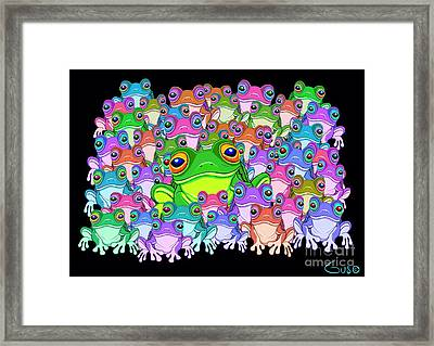 Colorful Froggy Family Framed Print