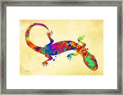 Gecko Watercolor Art Framed Print