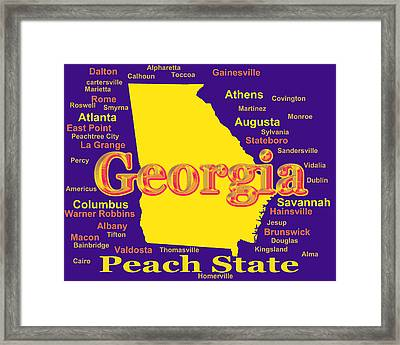 Colorful Georgia State Pride Map Silhouette  Framed Print by Keith Webber Jr