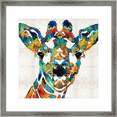 Colorful Giraffe Art - Curious - By Sharon Cummings Framed Print by Sharon Cummings