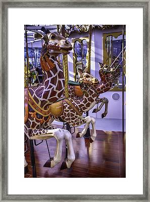 Colorful Giraffes Carrousel Framed Print by Garry Gay